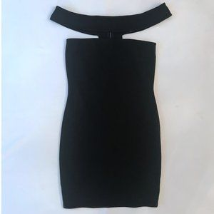 Chic Black Bodycon Shoulder Strap Dress